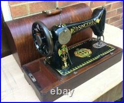 1910 Antique Singer 66'lotus' back clamp handcrank sewing machine