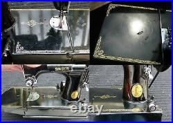 1949 SINGER 221 featherweight sewing machine withcase & attachments FREE SHIPPING
