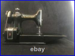 1952 SINGER FEATHERLIGHT 221 sewing machine with CELTIC Scroll Work WITH accys