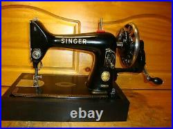 1955 Singer Sewing Machine Model 99k, Hand Crank, Leather, Serviced