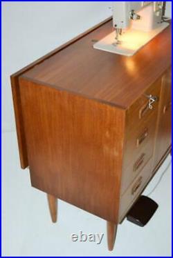 60s Singer 449 Sewing Machine in Danish Style Teak Sideboard Cabinet PL3400