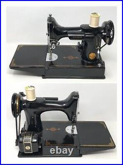 Antique 1948 Singer Featherweight Sewing Machine 221-1 withCase, Manual & Extras