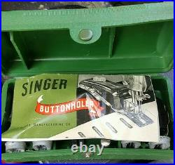 Antique 1950's Singer portable sewing Machine With case and extras