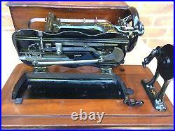 Antique Bradbury Fiddle Base Handcrank Sewing Machine