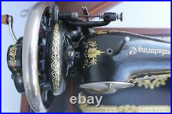 Antique Hand Cranked Sewing Machine, German Sewing Machine Sewing studio decor w