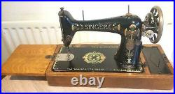 Antique SINGER 66-1 Sewing Machine with Lotus Decals