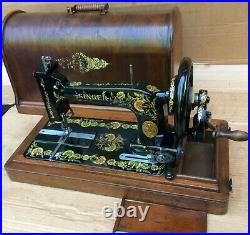 Antique Singer 48K Sewing Machine with Case and Ottoman Carnation Decals 1903