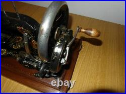 Antique Singer Sewing Machine Model 12k With Ottoman Carnation Decals