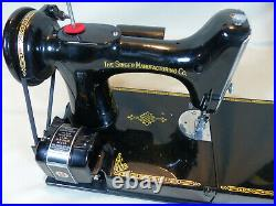 Nice Singer 221 Centennial Featherweight Sewing Machine with Case & Extras Works
