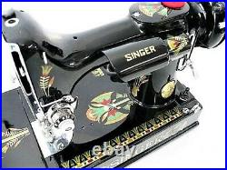 Rare Singer Featherweight 221 Sewing Machine with 1920's'Lotus' Style Displays