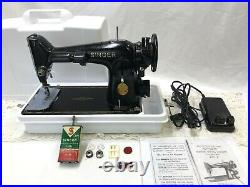 SERVICED Direct Drive Heavy Duty Vtg Singer 201 Sewing Machine Denim / Leather