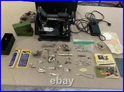 SINGER 222K FEATHERWEIGHT Sewing Machine 1950's WORKING & TON of Accessories