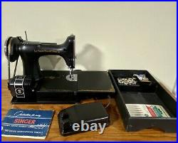 SINGER FEATHERWEIGHT 221 SEWING MACHINE With CASE, PEDAL, MANUAL, & ACCESSORIES