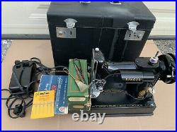 SINGER FEATHERWEIGHT 221 SEWING MACHINE, with STORAGE CASE & EXTRAS