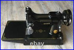 SINGER FEATHERWEIGHT SEWING MACHINE With CASE AND FOOT CONTROLLER