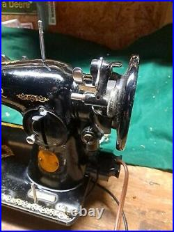 Singer 15-91 Sewing Machine 1949 with Foot Pedal Accessories Vintage Tested Works