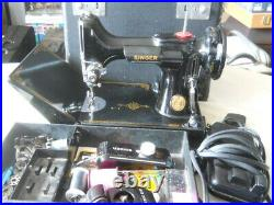 Singer 221 Featherweight Sewing Machine with Case Pedal & Attachments