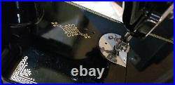 Singer Featherweight Portable Sewing Machine Model 221-1 Works Nice with Case Key