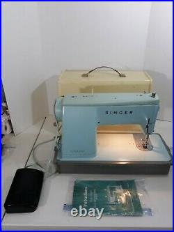 Singer Vintage Style Mate Model 347 Turquoise Sewing Machine With Case Works