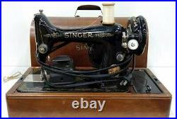 VINTAGE SINGER 99K Sewing Machine with foot pedal, light, Bentwood Case 1949