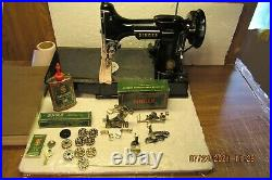 VTG 1955 Singer Featherweight 221 Sewing Machine SERVICED withAccessories AM139078