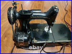 Vintage 1951 Singer 221K Featherweight Sewing Machine Working with Buttonholer