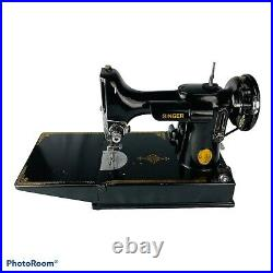 Vintage 1952 Singer 221 Featherweight Sewing Machine withCase & Attachments