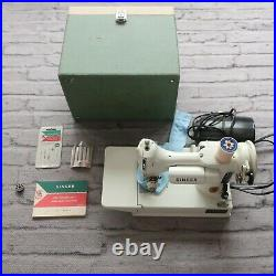 Vintage 1960s Singer 221 White Featherweight Portable Sewing Machine Case