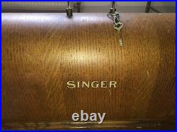 Vintage Old Antique Singer Hand Crank Sewing Machine With Bentwood Case And Key