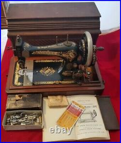 Vintage Singer 28K Hand Crank Sewing Machine Box Case with Accessories Manual
