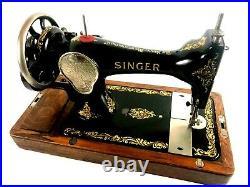 Vintage Singer 28K Hand Crank Sewing Machine Rococo Decals c1927 5673