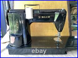 Vintage Singer 301A Black 1953 Sewing Machine With Original Case/Attachements A+