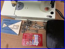 Vintage Singer white 221K Featherweight Sewing Machine with attachments