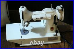 Vintage White Singer Featherweight Sewing Machine EV915766 Working
