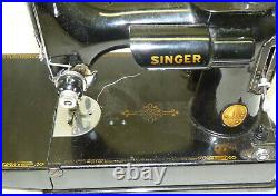 Vtg 1946 Singer Featherweight 221 Sewing Machine with Case & Accessories WORKS