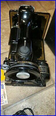 Vtg Antique Singer Portable Electric Sewing Machine 221-1 Case Attachment Lot