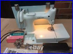 White Singer 221K Featherweight vintage Sewing Machine with attachments