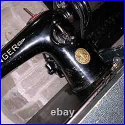Working Antique 201-K Simanco Black Victorian Scroll Electric Sewing Machine
